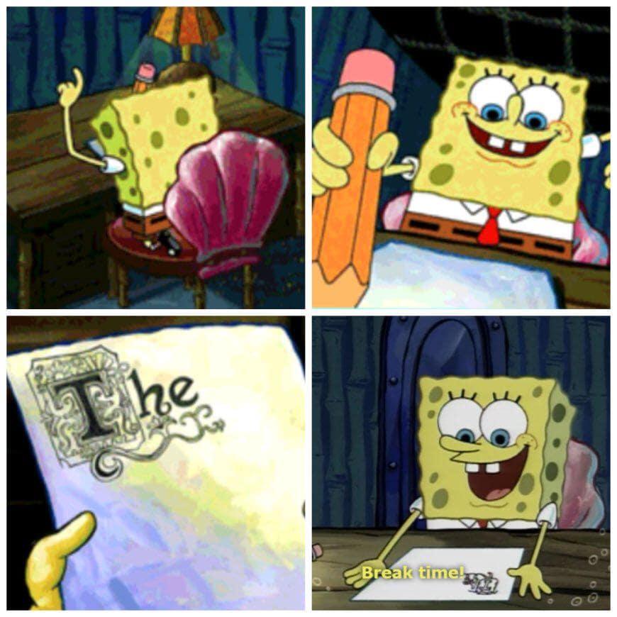 spongebob writes an essay